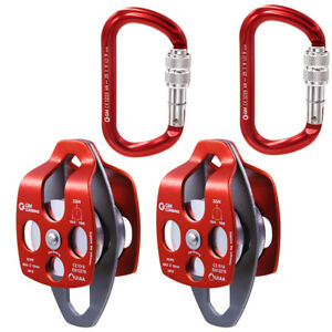 32kN 7100lb Double Pulley Twin Sheaves Aluminum for Hauling Rigging Arborist