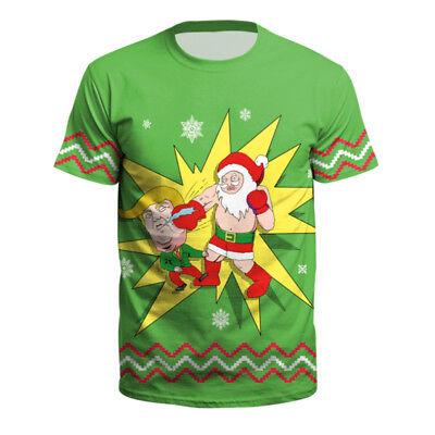 3D Christmas Print Ugly Xmas Shirts T-Shirt Mens Womens Short Sleeve Tops Blouse