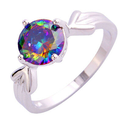 Super Arrow-Shaped Solitaire Rainbow Topaz Gemstones Silver Ring Size 6 7 8 9