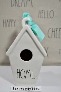 Rae-Dunn-Birdhouse-HOME-Flowers-Slant-Roof-Teal-Ribbon-Accent-NEW-Holiday-039-19