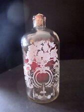 "Lg Antique Perfume Bottle Etched Art Deco Glass w/ Metal Flip Top Apothecary 9"""