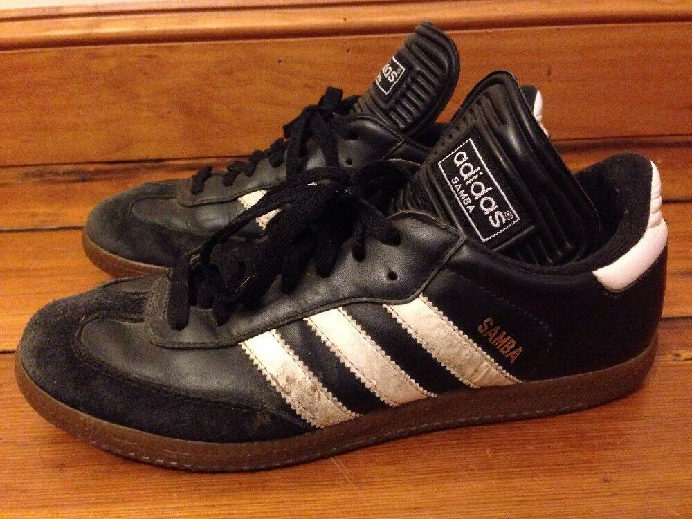 Vintage 90s Adidas Samba ΔΡρμάτινο Μαύρο Ξ›Ξ΅Ο…ΞΊΟŒ Stripes Mens Shoes Soccer 6.5 39.5