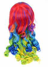 Girls Womens Long Mix Color Rainbow Dash Wave Curly Cosplay Hair Long Wig