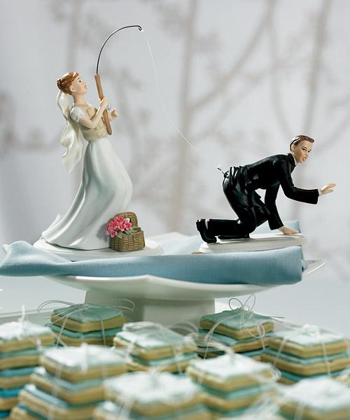 Gone Fishing - Bride & Groom - Wedding Cake Topper - Caucasian
