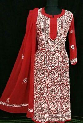 New Year Ethnic Wear Chikankari Georgette Red Kurta Palazzo Set Fast Shipping