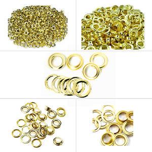 100-X-Gold-Messing-Osen-Tuelle-Rostfrei-DIY-Basteln-Banner-Bekleidung-Reparatur