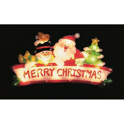 Christmas Metallic Effect Light Up SANTA WITH REINDEER //Window//Silhouette//Lights