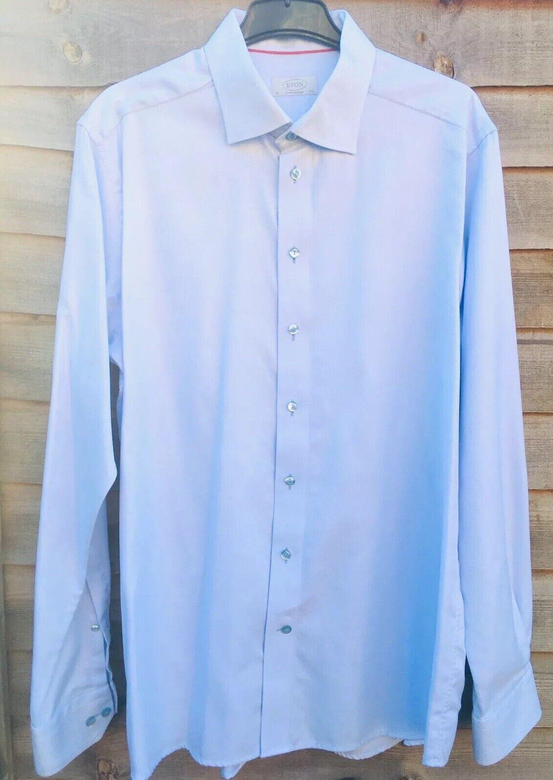 Eton contemporanea Plain Azzurro Uomo Smart Camicia Abito Maniche Lunghe 17,5  44