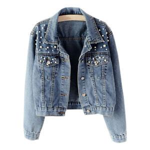 Damen-Jeansjacke-Jacke-Denim-Jeans-Mantel-Jeansmantel-Nieten-Kurze-Freizeitjacke