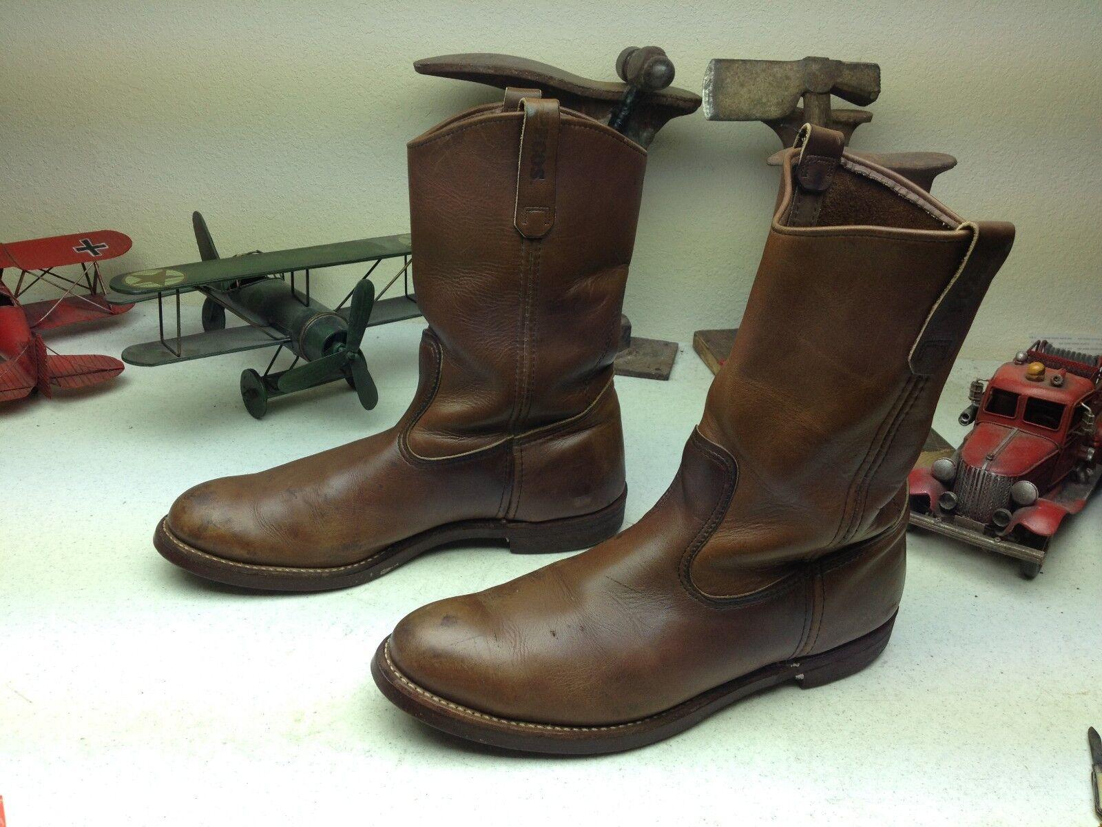 Envejecido Vintage Hecho En Usa rojo Wing marrón cuero ingeniero jefe botas 14,5 D