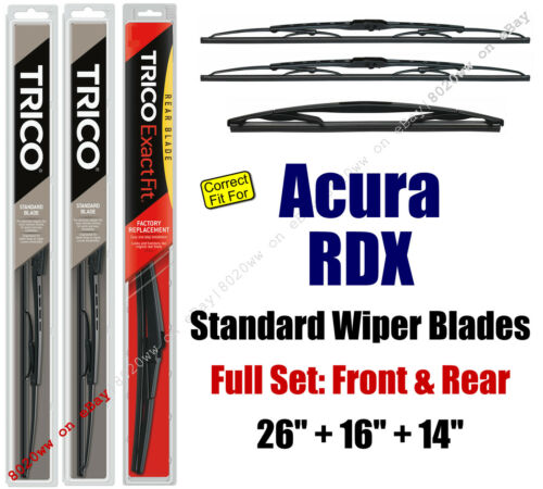 fit 2007 Wiper Blades 3-Pack Front Rear Standard Acura RDX 30260//160//14B