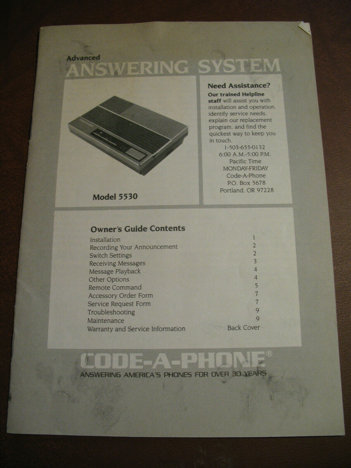 Code-A-Phone 5530 Dual MicroCasette Tape Answering Machine Box Instructions  PS