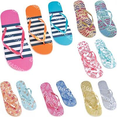 New Ladies Gold Toe Post Flip Flop Sandals Flower Design Shoes Sz 3-4-5-6-7-8