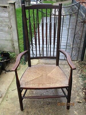 Able Fab Antique Victorian Oak (?) Rush Seat Country Low Armchair Turned Spindle Back To Win A High Admiration And Is Widely Trusted At Home And Abroad.