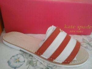 85cee30c25ea Kate Spade New York Imperiale Sandal Slides NIB Red Nubuck White ...
