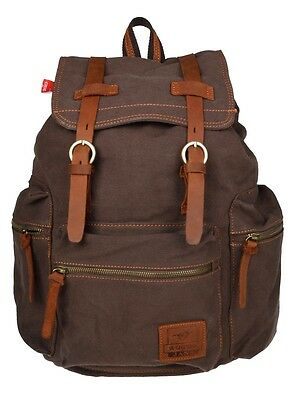 Men Women Vintage Coffee Canvas Backpack Rucksack School Satchel Hiking Bag