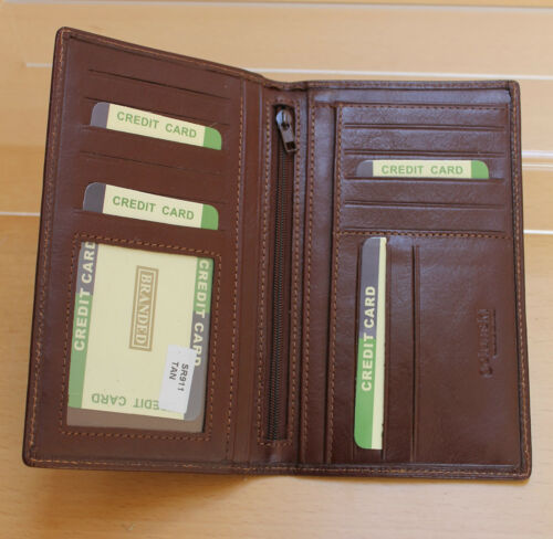 black or brown Slim Long Golunski Quaility Leather Mens Notecase Suit Wallet