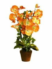 Orchidee orange im Topf 57cm, Kunstpflanze