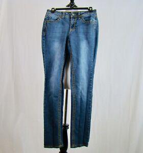Cato-Women-039-s-Premium-Straight-Leg-Medium-Wash-Embroidered-Denim-Jeans-Size-6