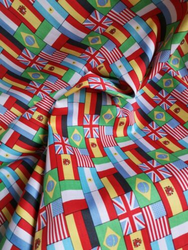 0.5M WORLD FLAGS Fabric Material Cotton Poplin Patchwork Crafts 1//2M