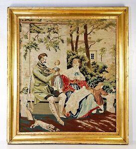 Lovely-Antique-Victorian-Era-18-034-x-16-034-Needlepoint-Gilt-Wood-Frame-Dog-Figural