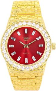 MEN Iced Watch Bling Rapper Simulate Lab Diamond Gold RED Metal Band Luxury Club