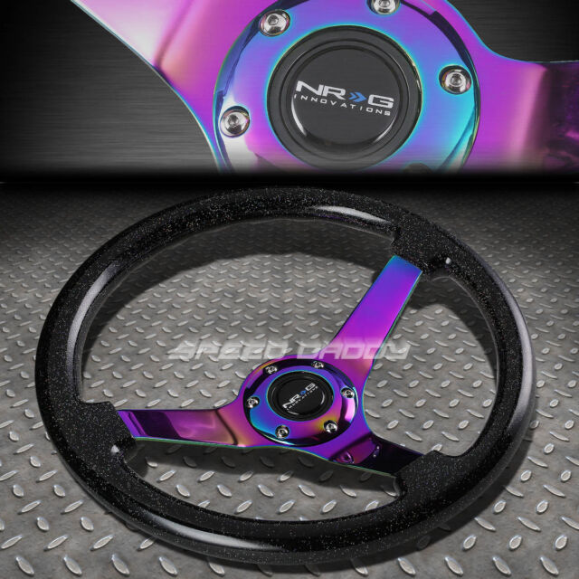 "NRG 350MM 3""DEEP DISH 6-HOLE SPARKLE BLACK WOOD STEERING WHEEL NEO CHROME CENTER"
