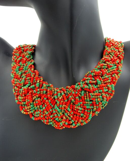 Lady Jewelry Bead Green Orange Pattern Weave Seed-bead Design New Necklace #596