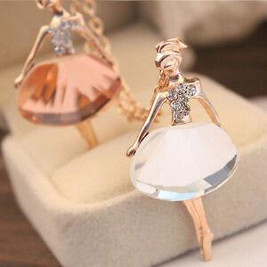 Femmes-Alliage-Ballet-Or-Plaque-Longue-Chaine-Mode-Collier-Pendentif-En-Cristal
