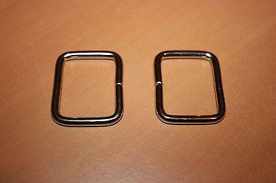 """Accessoire Maroquinerie 5 Anneaux Rectangle Acier Trempé /"""" Argent /"""" 38 x 32 mm"""