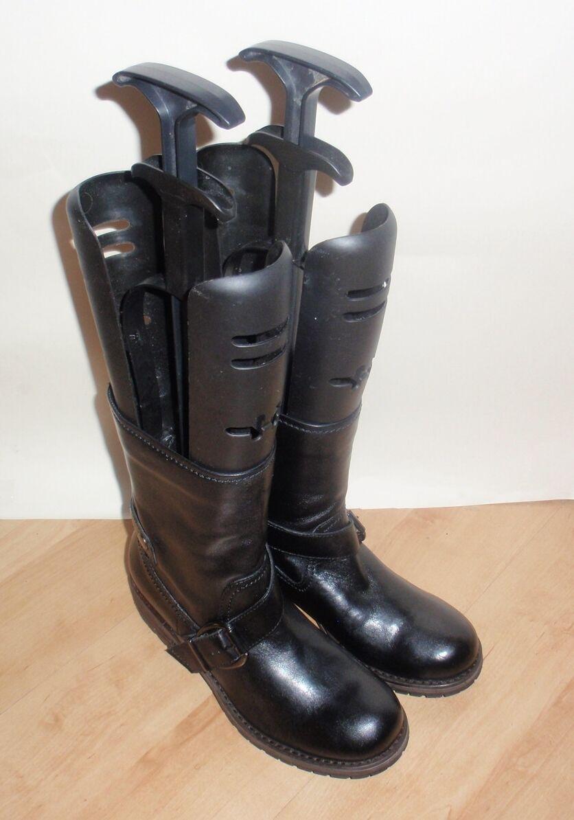 NEW Clarks womens MAJORCA DISCO black leather mid calf biker boots size 3.5