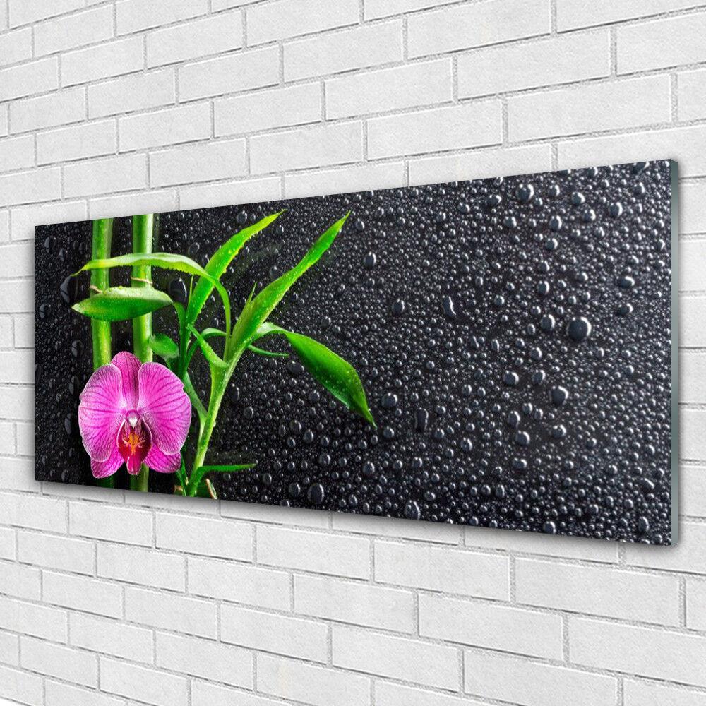 Tableau murale Impression sous verre 125x50 Floral Fleur Bambou