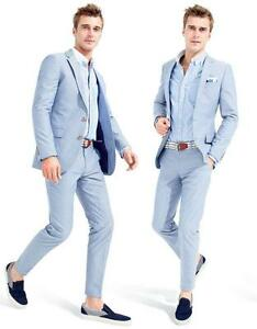 Summer Mens Light Sky Blue 2 Piece Suit Smart Formal Wedding Party