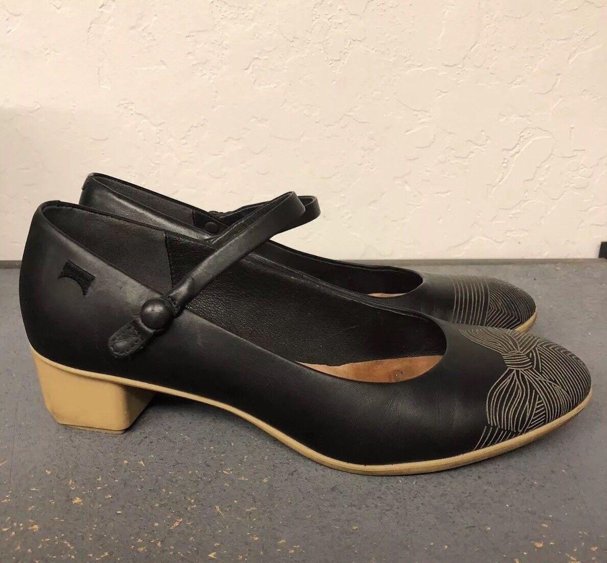 CAMPER Twins Leather Black Etched Stripes Bow High Heels Heels Heels Pumps Sz 37 Geometric 7 199d5f