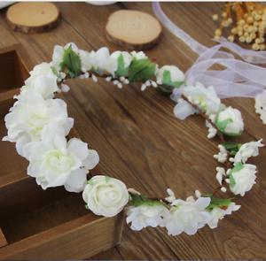 Women-Girls-Wedding-beach-Bohemian-Braided-Flower-Crown-Hair-Headband-White