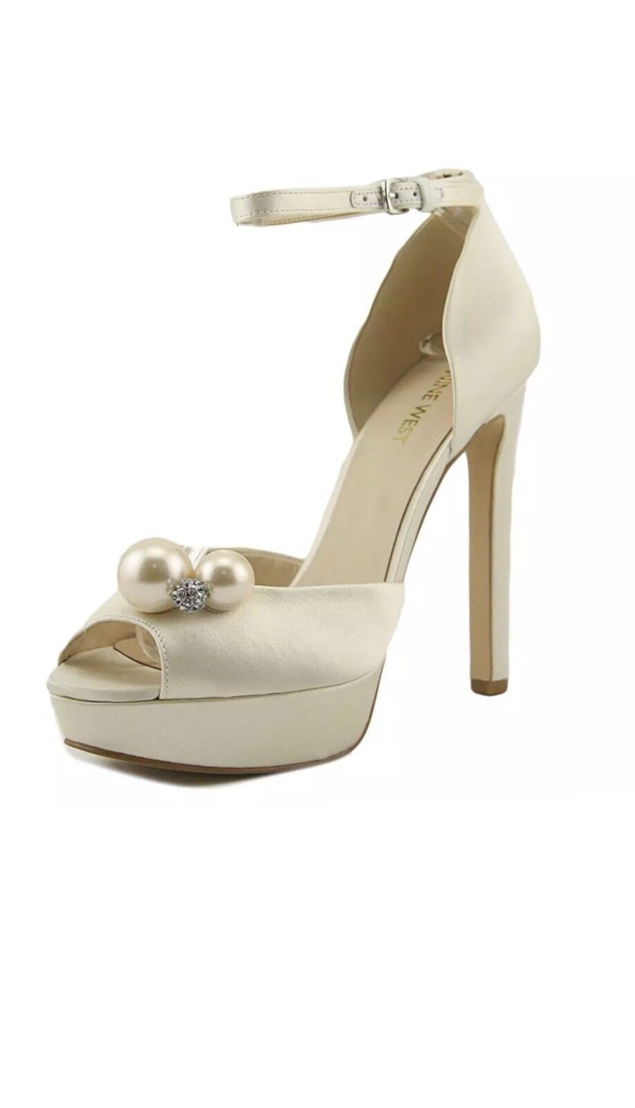 Nine West Vidah 7 Off White Ivory Satin Silk Platform Peep Wedding Pearl Sandals