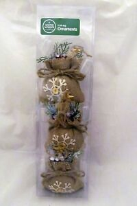 Winter-Wonder-Primitive-Burlap-Sack-Bag-Snowflake-Holiday-Christmas-Ornament-Set
