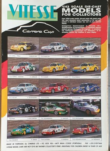 Prospectus Feuille Vitesse Models for collectors 1:43 Porsche Carrera Cup 1991