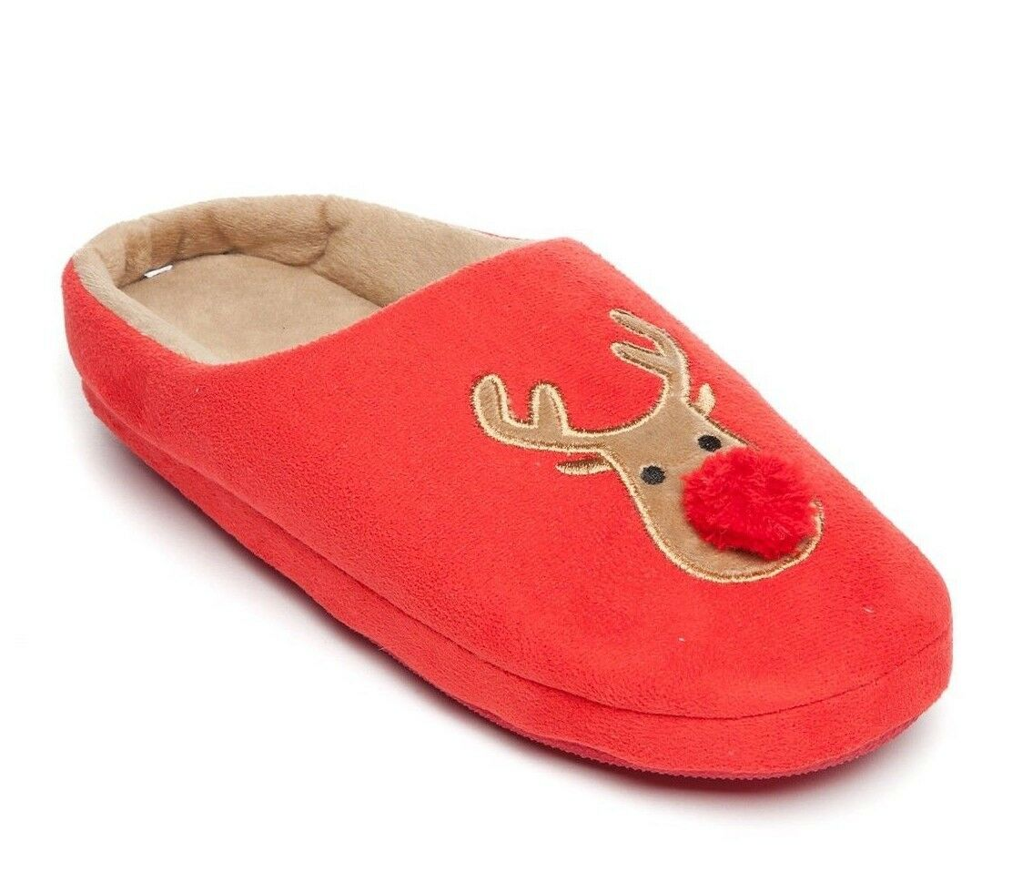 New Directions Rest Your Soles Red Reindeer Path Novelty Clog Slippers