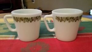 Vintage Kitchen Pyrex Coffee Cup Mugs Crazy Daisy Spring Blossom Green Flowers