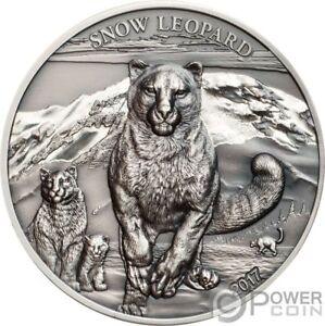 SNOW-LEOPARD-High-Relief-Animals-1-Oz-Silver-Coin-500-Togrog-Mongolia-2017