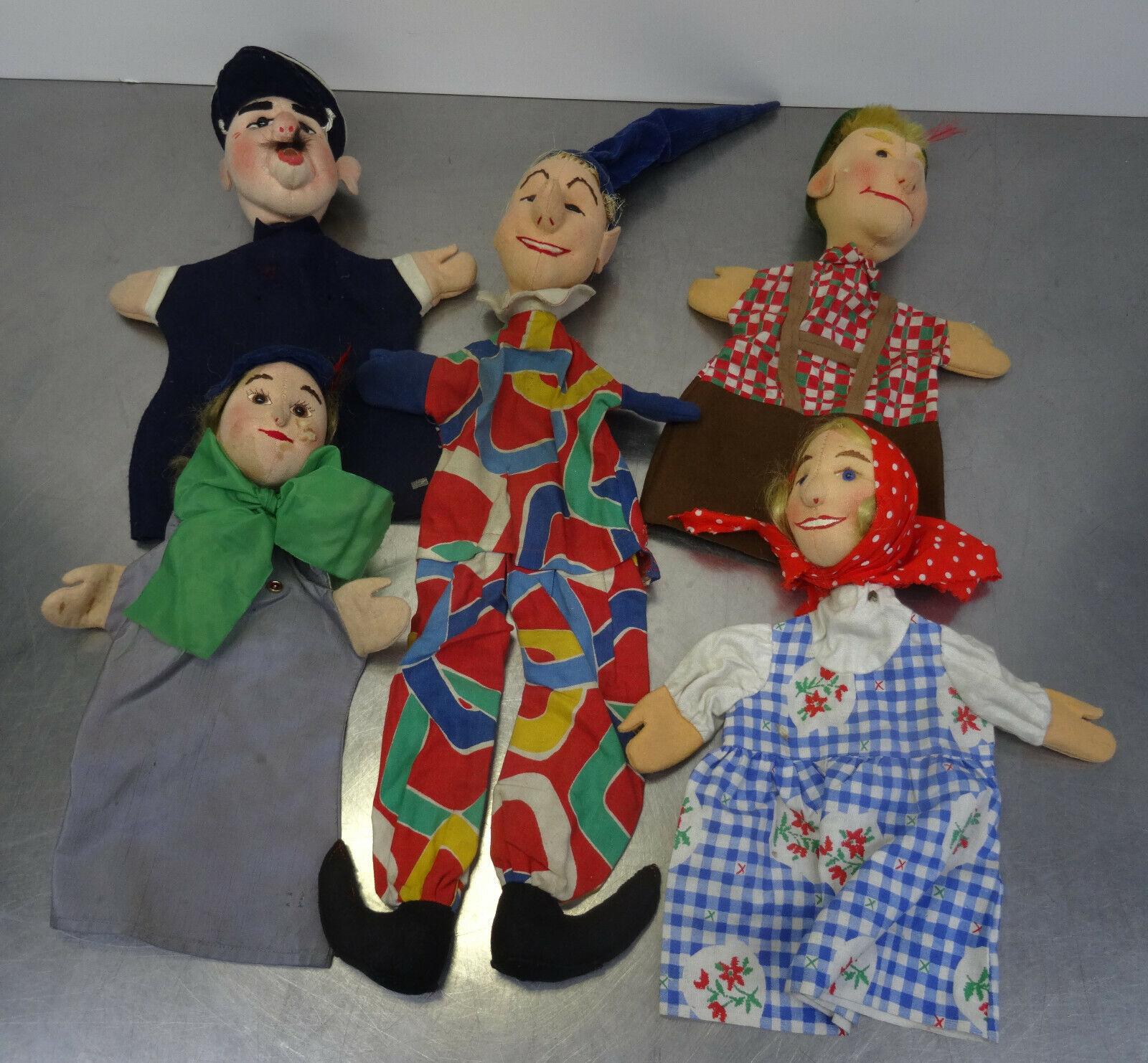 Ältere bespielte Handpuppen Kersa Filz Kasperletheater Theater Theater Theater Puppe 5 Stück e1c214