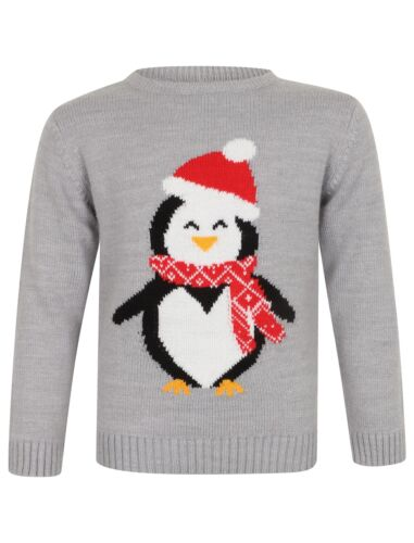 Merry Christmas Childs Knitted Penguin Christmas X-Mas Jumper Blue or Grey