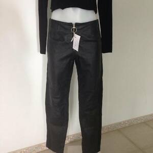 SALE-MAXIMA-WILSONS-Womens-Black-Genuine-Leather-Pants-with-Zip-Front-US-6-AU-10