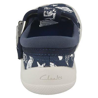 Clarks Jungen Doodles Briley Sky 17 FST Marineblau Leinen T-Riemen Pumps