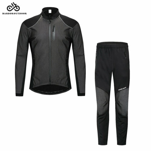 Men/'s Long Sleeve Cycling Jersey Pants Set Fleece Bicycle Clothing Suit Winter
