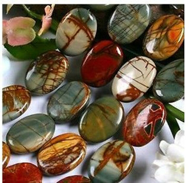 """13mmx18mm Multi-color Picasso Jasper Oval Loose Beads 15"""""""