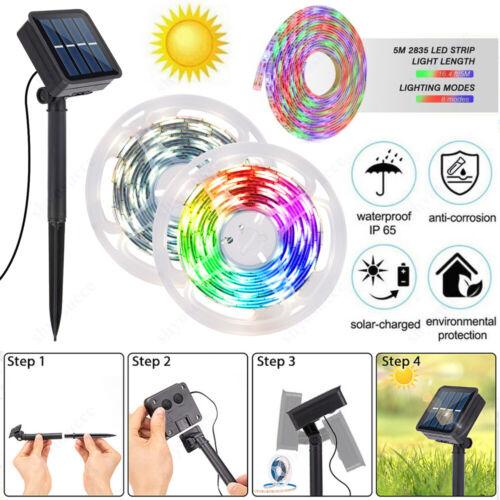 5m Solarbetriebene Lichtleiste SMD 2835 LED-Lichtband mit flexibler Beleuchtung