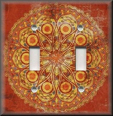 Metal Light Switch Plate Cover - Boho Decor Medallion Orange Peacock Design