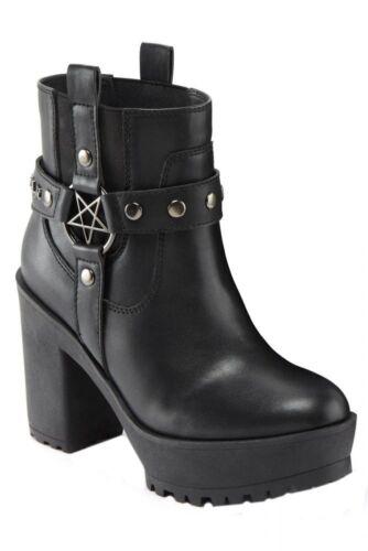 Killstar Stiefelette Winona-gothic-Rock-Metal-Platau-Pentagram-KULT-vegan